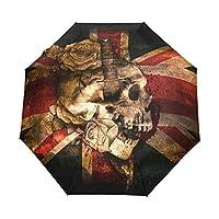 Hulahula UK Flag Skull Automatic Umbrella Auto Open Close Folding Windproof Foldable for Men Women Kids