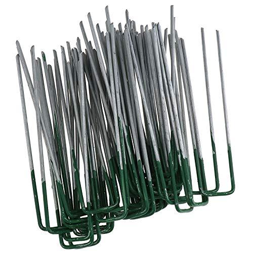 ENET 50 x Demi Vert en Forme de U Chevilles Agrafes Gazon Artificiel Gazon Broches Fer galvanisé