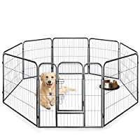 Speedwellstar 80 cm Tall Black 8 Side Large Pet Pen Whelping Play Metal Dog Cage Crate Run Heavy Duty