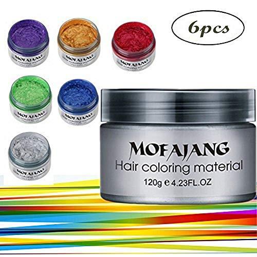Symeas 6 Farben Unisex Multi-Color Temporäre Modellierung Mode DIY Haarfarbe Wachs Schlamm Haarfarbe Creme -