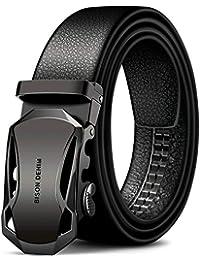 Men's Fashion Leather Belts with Automatic Ratchet Buckle belt
