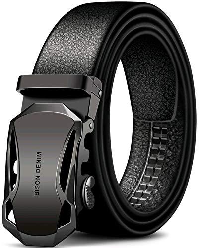 Wild Dragon Men's Leather Automatic Ratchet Buckle Belt (Black, 48)