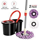 360° Spinning Mop Bucket Set-with 2 Microfiber Mop Heads,360° Spinning Mop Clean Hygienic
