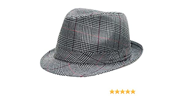 6264bc8c4be Mens Prince Of Wales Tweed Trilby Fedora Hat in Grey: Amazon.co.uk: Clothing