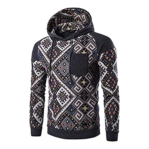 Sweats à capuche Homme, Bohemian Retro Warm Drawstring Hooded Sweat-shirt à capuche Confortable Sport Outwear (EU_Medium, P)