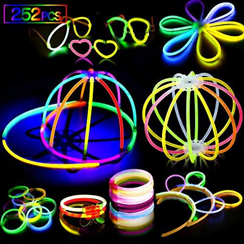 AMZJUPWM Barras Luminosas, 252pzas (20 cm) múltiples Colores: Amarillo, Rojo, Blanco, Ideal para Eventos: Fiestas Infantiles, Bodas, cumpleaños.