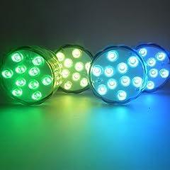 Idea Regalo - ALED LIGHT® Batteria Impermeabile Powered Sommergibili Luci, LED Luci Piscina, Luci per Laghetto di Notte Luci LED RGB Luci di Umore con IR Telecomandi, Luci per Piscina, per Matrimoni, Centrotavola, Luci Halloween, Festa. (4*10LED)