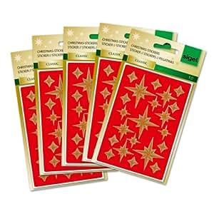 Sigel CS205 105 autocollants de Noël, Stickers étoiles dorées