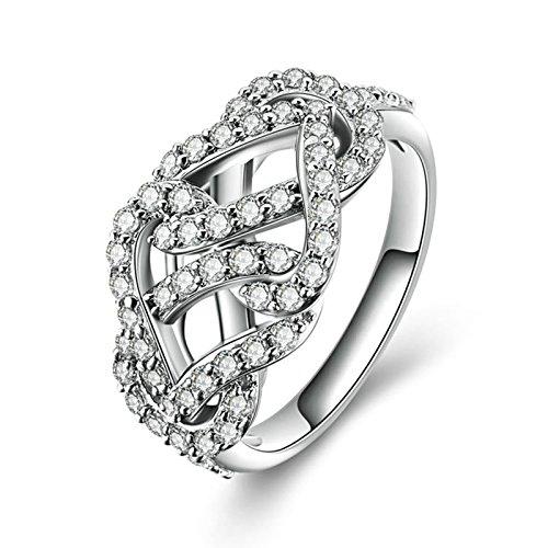 SonMo Solitär 925 Sterling Silber Hochzeit Ring Eheringe Heiratsantrag Ring Solitär Ring Silber Weiß Ringe mit Diamant Zirkonia Damenringe Größe 60 (19.1)