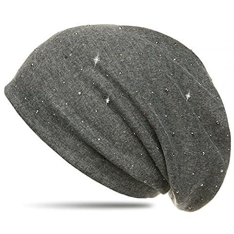 CASPAR MU137 Bonnet Beanie à paillettes et tissu en flanelle, Couleur:dunkelgrau (meliert);Taille:One Size