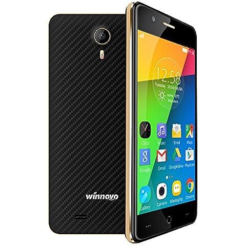 Winnovo K43 Smartphone 4G LTE Android 5.1 Telefono Cellulari 4.5 Pollici Quad Core 2.5D Curvo IPS Display Dual SIM 8GB ROM Memoria Interna Doppia Fotocamera 5.0MP2.0MP Bluetooth 4.0 Wifi GPS Gesto Intelligente Cellulare(Blu scuro)
