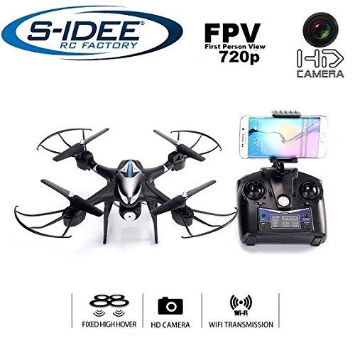 s-idee® 01606 S30CW Quadrocopter Wifi verstellbare HD Kamera über den Sender FPV Höhenstabilisierung, Headless Mode VR möglich, Drohne 360° Flip Funktion, 2.4 GHz mit Gyro, 4-Kanal, 6-AXIS System Drone mit Camera 720p