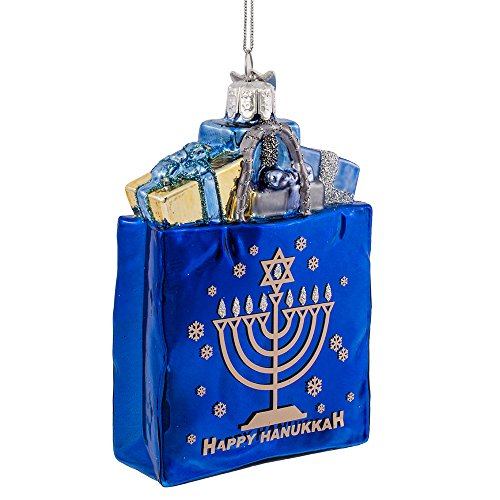 Kurt Adler 10,2cm Noble Gems Happy Hanukkah Glas Geschenk Tüte Ornament -