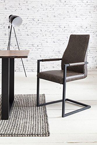 SalesFever 2er Set Stilvoller Armlehnstuhl Giada in dunkelbraun, Stuhl in elegantem Design, Esszimmerstuhl mit Kunstleder bezogen, schwarz lackiertem Fuß,