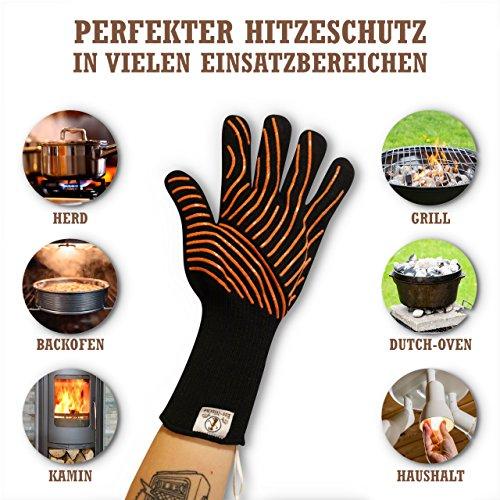5100CtU0PGL - Premium Grillhandschuhe / 2er Set / Bis 500°C Hitzebeständig / EN407 Zertifizierte Ofenhandschuhe Aus Kevlar-Nomex Gewebe / Extra Lang Zum Grillen, Kochen & Backen / Ess-Nische Backhandschuhe
