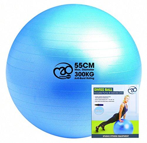 Pilates-Mad 300 kg Gymnastikball mit Pumpe und DVD, Blau, 65cm