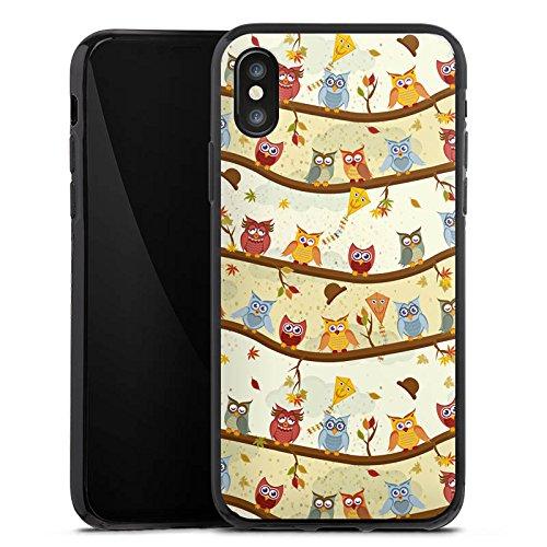 Apple iPhone X Silikon Hülle Case Schutzhülle Eulen Muster Eule Silikon Case schwarz
