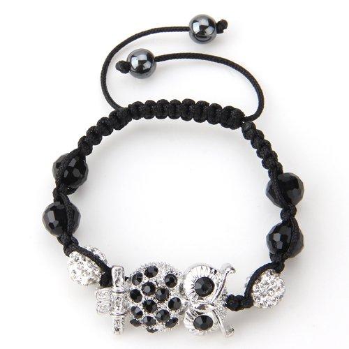 Easy Provider® 3 pieces Metall Strass Nylon Armkette Kette Armband Armreif mit Eule verstellbar