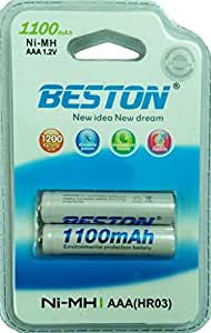 Beston 1100mah Ni-Mh AAA Rechargeable Battery 1.2V 1 pack of 2 Pcs (HR03)
