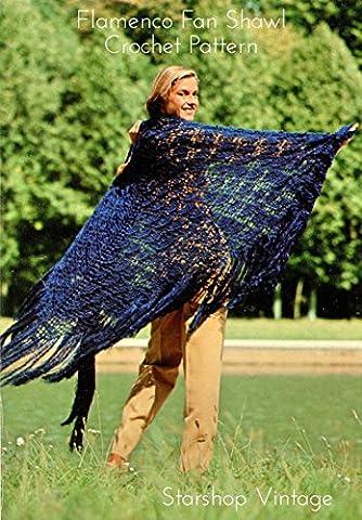 Flamenco Fan Shawl: Vintage 1970s Crochet Pattern