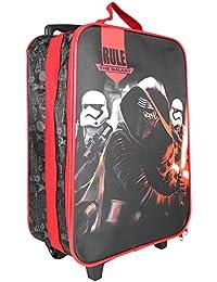 Trolley Niño Star Wars -Bolsa grande con estampado Darth Vader - Maleta infantil dos ruedas negra y roja - La guerra de las galaxias - Perletti - 41x29x12 cm