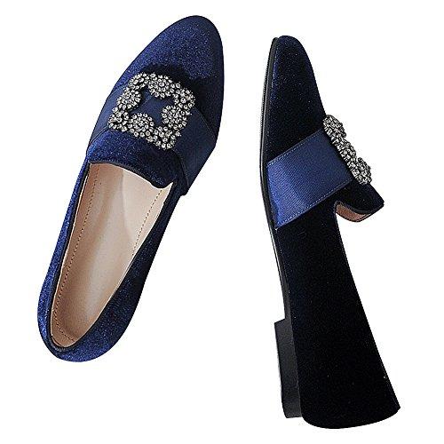 Jamron Donne Ottimizzata Pleuche Pantofola Scarpe da Barca Piatte Con Fodera in Vera Pelle e Cinturino con Fibbia in Strass Blu