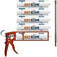 Kit de Impermeabilización Dryzone: 5 x Crema de Inyección DPC 310ml + Pistola de Masilla Cox + Broca Dryzone (Tratamiento contra la Humedad Ascendente)
