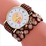 Longra Reloj ♥Reloj De Pulsera De Señora, Moda Y Cute Emoji Patrón De Pulsera De Cuero De Cristal (marrón)