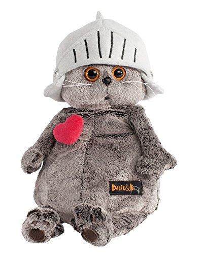 Plüschtier Katze Basik & Co - In einem Ritter Helm & rotem Herz 19 cm von BudiBasa - Spielzeug für Erwachsene, Kinder & Babys weiche Kuscheltiere und süße Stofftiere für Mädchen und Jungen (Halo-helm Rot)