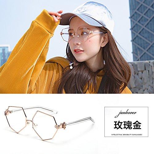 die macht der macht mit dem spektakel bild weiblicher koreanischen retro - gezeiten flache spiegel pearl nase persönlichkeit achteckigen brille,rose gold