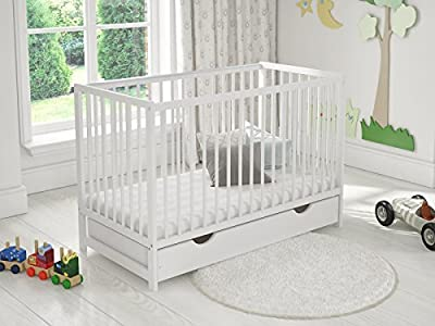 White Classic Wooden Baby Cot Bed with Drawer + Safety Bumper + Teething Rails
