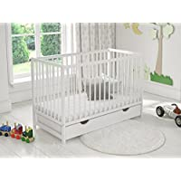 White Classic Wooden Baby Cot Bed with Drawer + Foam Mattress + Wooden Safety Barrier + Teething Rails