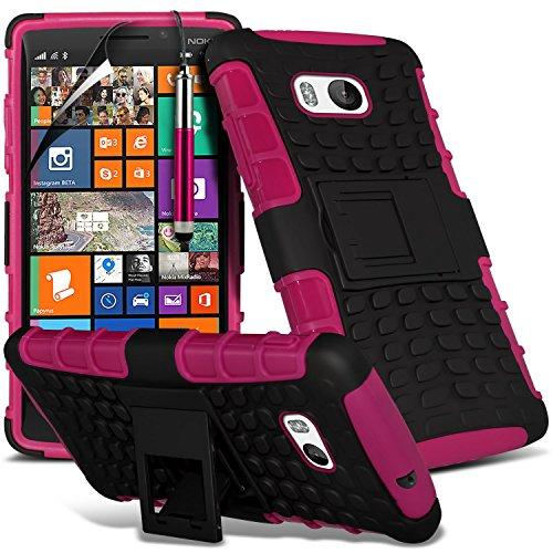( Blue ) Nokia Lumia 930 Tough Survivor Fest Rugged Shock Proof Heavy Duty Case W / Back-Stand, LCD-Display Schutzfolie, Poliertuch und Mini-versenkbaren Stift durch Spyrox Shock Proof + Stylus ( Hot Pink )