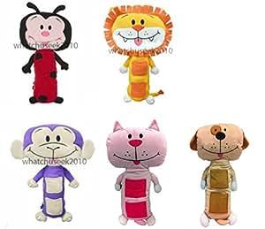 Kids Car Seat belt Plush Soft Toys Ladybird Lion Cow Monkey Belt Pad