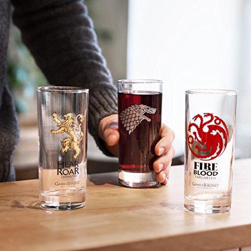 GAME OF THRONES - 3er Set Gläser Stark, Targaryen und Lannister
