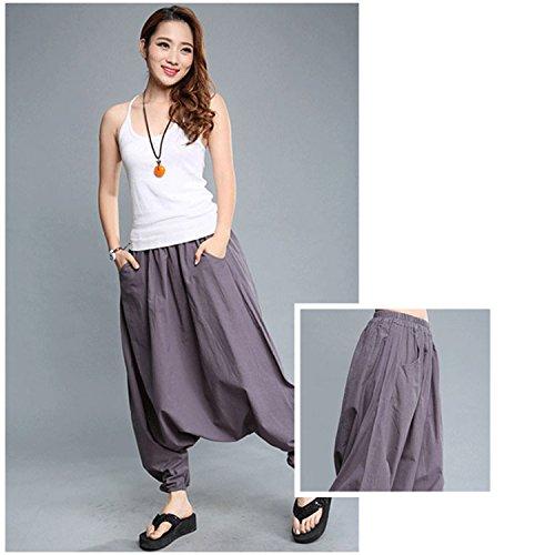 Homedecoam Haremshose Aladdin Pumphose Pants aus Baumwolle Grau
