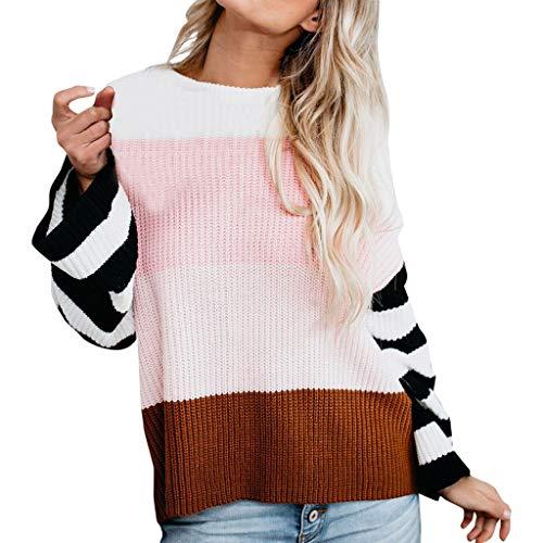 LILIHOT Frauen O-Ansatz Sweatshirt Gestreifte Langarm Bluse Farben Block Strickjacke Patchwork Strickwaren Plus Size Pullover Oberseiten Lose Casual Warmes Sweater -