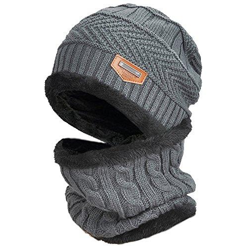 DUSISHIDAN Mütze mit Kurz Loop Schal Set, 2 in1 Strickmütze Kaschmir Mütze und Loop Gestrickt Schal, Unisex Winter Set - Grau