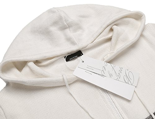 BURLADY Herren Strickjacke Cardigan Pullover meliert Melangeoptik Reißverschluss fein Strick verschiedene Farbenblock Weiß