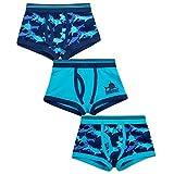 4 Kidz Jungen Boxershorts Badehose Passform Unterwäsche Dreier Packung vier Styles 2-3 bis zu 13 Jahre - blau Tarnung, 134-140