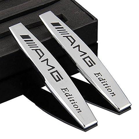2stk Métal Voiture Inscription autocollants pour Mercedes-Benz AMG Garde-boue Argenté emblème chrome argenté Plaque Autocollant pour voiture 3D Sports Car Metal Decal Sticker