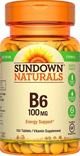 Sundown Naturals Vitamin B-6 100 mg, 150 Tablets (Pack of