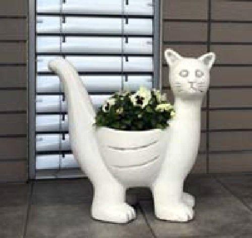 Katze (S204079) Pflanzkorb Pflanzschale Dekoration Blumentopf Steinguss 47 cm