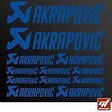Brett 12Sticker Aufkleber Akrapovic Auspuff Anlage–Blau Traffic–Sticker, selbstklebend, Motorrad, Bike, Kit, Deco, Tuning, Decal, gt-design, GT Design, gtdesign