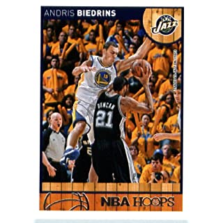 2013 14 Panini Hoops Basketball Card # 212 Andris Biedrins Utah Jazz