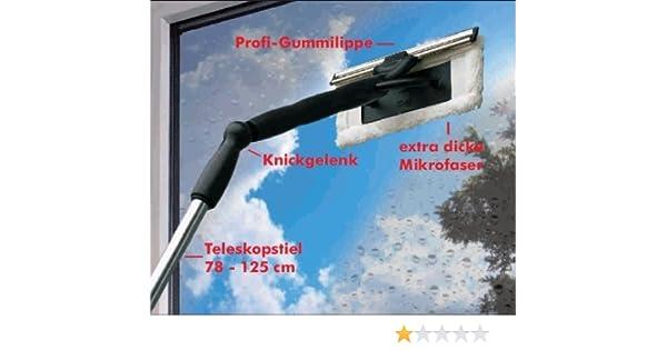 Mikrofaser fensterreiniger mit knickgelenk und teleskopstiel
