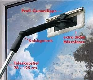 Nettoie-vitres microfibres complet avec coude articulé et manche télescopique