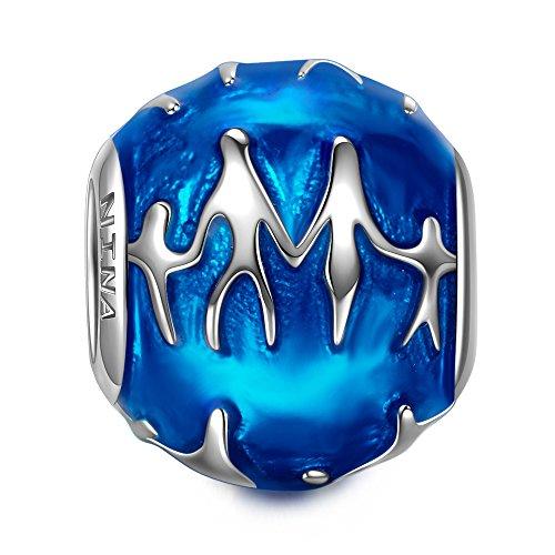 NINAQUEEN Abalorios Charms para Mujer Plata de ley 925 Ajuste para Collar Pulsera Esmalte Azul, Regalos de Navidad, Envases de Regalo para Cada Momento Especial