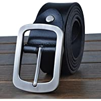 """HOMBRES cinturones estilo Retro cuero cuero de grano completo 100% correa de cuero para los hombres con un puncher de agujero del cinturón bono Metal ancho de 1,4"""" todos tamaños Ideal de Navidad para hombres , black"""