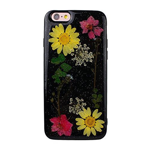 iPhone 6S Silikon Hülle, iPhone 6 Silikon Hülle Transparent, Transparent Echt Blumen Design, Moon mood® Ultra Slim Thin Hülle Handytasche Schutzhülle für Apple iPhone 6S / iPhone 6 4.7 Zoll Weich Sili Echt Blumen 3